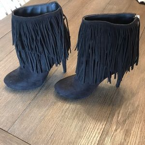 Black Suede Fringe Michael Antonio Booties